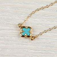 Turquoise clover necklace, lucky charm necklace, tiny gold clover, 14k gold filled, bridal necklace, &quot;Turquoise Clover&quot; Necklace