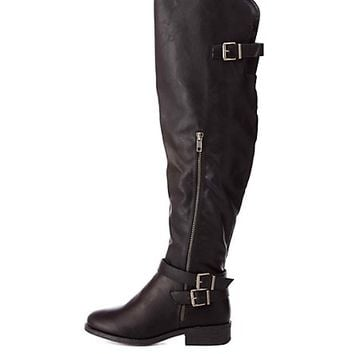 Buckled Over-the-Knee Riding Boots by Charlotte Russe - Black