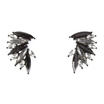 FANNED GEM CLUSTER STUD EARRINGS