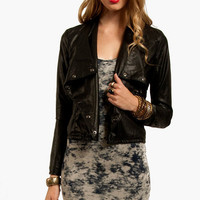 Blank Vegan Leather Shawl Biker Jacket