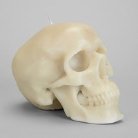 Day Of The Dead Skull Candle- White One