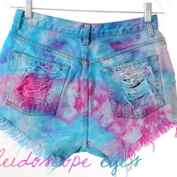 Vintage Calvin Klein Colorful Marbled Dyed Denim Destroyed High Waist Cut Off Shorts M
