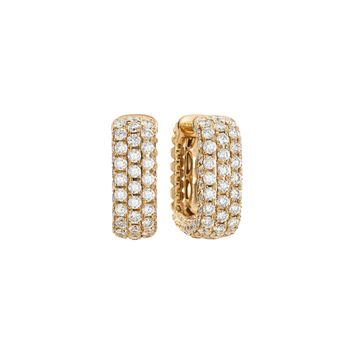 Mercer Three Row 18k Yellow Gold and Diamond Hoop Earrrings
