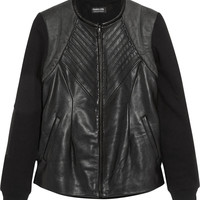 Francis Leon Leather and jersey jacket – 60% at THE OUTNET.COM