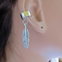 Silver Ear Cuff Cartilage Non Pierced Feather Charm