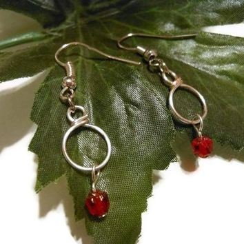 Czech Ruby Wire Wrapped Hoop Earrings