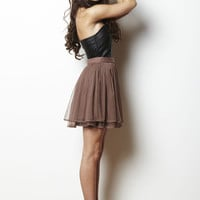 Brown Ballerina Skirt with Tiered Tulle