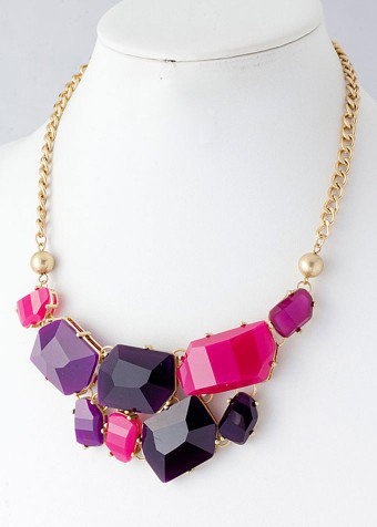 Multi-Color Gemstone Bib Necklace with Gold Hardware