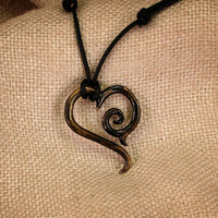Antique Bronze Tribal Heart Pendant