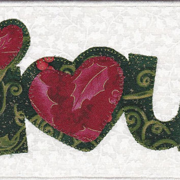 I Love You Quilted Fabric Postcard Christmas Edition