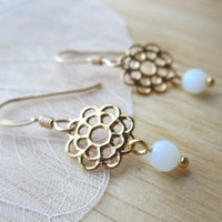Filigree Daisy Earrings - gold &amp; amazonite flower dangles - dainty everyday jewelry