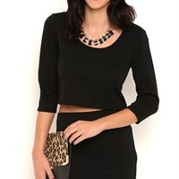 Textured Crop Top with Three Quarter Sleeves
