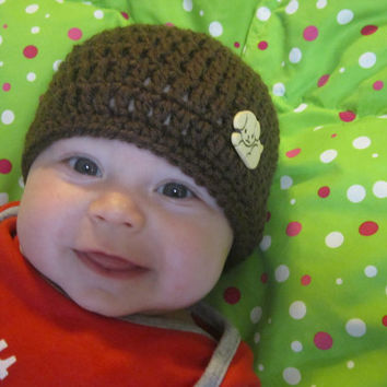 Brown Puppy Baby Hat, Brown Infant Cap with Tan Puppy Button, 3-6 Months Baby Beanie