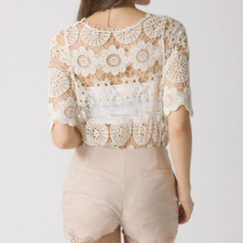 Retro Crochet Crop Top Beige Onesize
