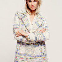 Free People Ivory Plaid Wool Coat