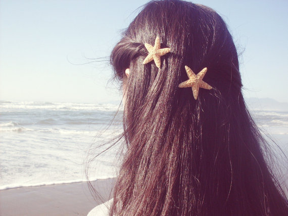 Starfish Hair Clips - Set of Two - Natural Beach Boho Cute Adorable Romantic Whimsical Dreamy Sea Stars Summer Fashion - Mermaid Collection