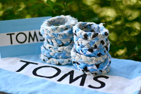 Upcycled TOMS bag flag Braided Fabric Bracelet