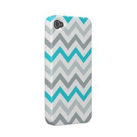 Blue/Aqua Tri Tone Chevron iPhone 4 Case from Zazzle.com