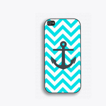 Tiffany Blue Nautical Chevron Phone Case, for iPhone 5, iPhone 5s, iPhone 5c, iPhone 4, iPhone 4s, Galaxy S3, S4 and S5. Anchor NM-172