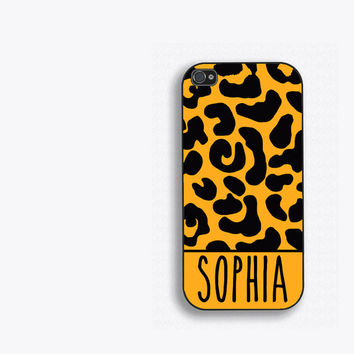 Personalized Leopard Print Phone Case, iPhone 5, iPhone 5s, iPhone 5c, iPhone 4, iPhone 4s, Galaxy S3, S4 and S5 Leopard phone case FCM119