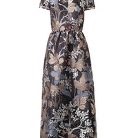 Floral and owl-jacquard dress
