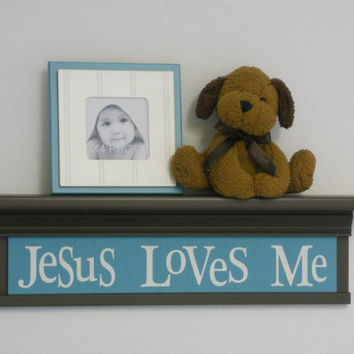 "Turquoise Nursery Decor Brown Wall Shelves - Baby Shower Gift  - 24"" Brown Shelf and Teal Green Sign / Inspirational Saying - Jesus Loves Me"