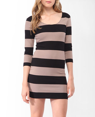 Striped 3/4 Sleeve Dress