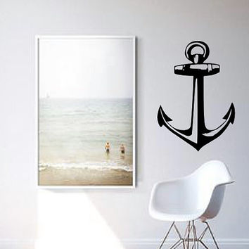 Boat Anchor Wall Decal - Home Decor - Sailing - Gift Idea - Living Room - Office - Cottage - High Quality Vinyl Graphic
