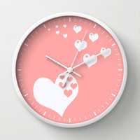 Coral White Hearts of Love Wall Clock by Beautiful Homes