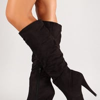 Faux Suede Slouchy Stiletto Knee High Boot