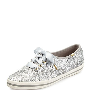 glitter lace-up sneaker, silver