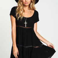 Crepe Crochet Babydoll Dress - LoveCulture