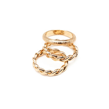 Twisted & Speckled Ring Set