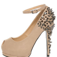 Privileged Arrow Tan Spiked and &#x27;Stoned Platform Pumps - $85.00