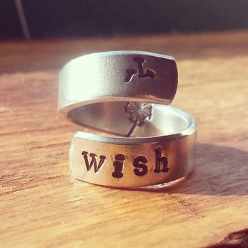 Wish   hand stamped aluminum spiral  ring dandelion and fluffs