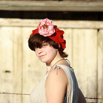 Upcycled Red Wool Hat With Shabby Flower Brooch