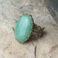 Lady Luck - Green Aventurine Gemstone and Bronze Lace Adjustable Ring
