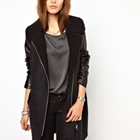 2nd Day Rava Biker Coat with Leather Sleeves and Shearling Collar