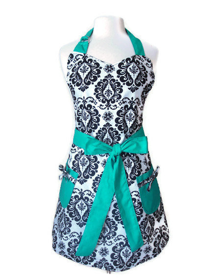 Retro Apron - Black and White Damask Apron with Teal Ties - Full Hostess Reversible Apron for women