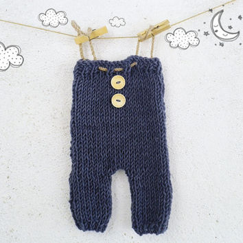 Hand Knit Baby Boy Romper / Knitted Baby Outfit / Newborn Photo Prop / Baby Overall / Baby Onesuit