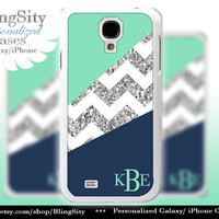 Navy Mint Silver Sparkle Galaxy S5 case Galaxy S4 Case Note 3 White Chevron Block Zig Zag Monogram Personalized Gift *NOT actual Glitter