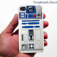 iPhone 4 Case, R2D2 iPhone 4 Case or iPhone 4s Case Cover (Black / white Color Case)Silicone Rubber case