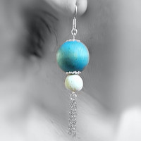 Earrings- Beach Colors, Wood Bead, Coral Bead, Chains, Sterling Silver Hooks -OOAK Jewelry