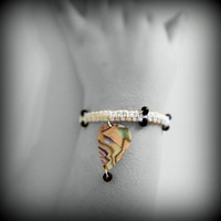 Bracelet- Hemp, Glass Beads, Guitar Pick -OOAK Jewelry