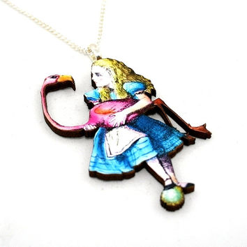 Alice In Wonderland Flamingo Necklace Tenniel Illustration