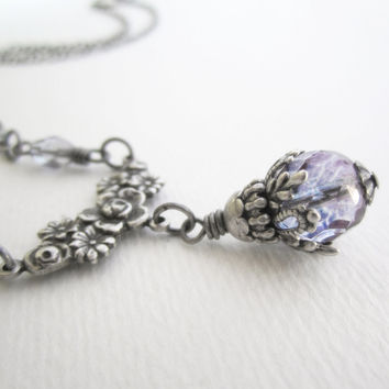 Victorian Jewelry - Romantic Necklace with Sparrow Birds and Flowers - Light Purple Blue - Silver Plated Brass