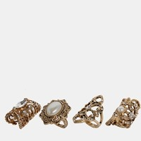 New Look Glam Pearl Ring Multipack