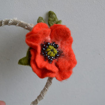 Headband Light Orange Poppy, Unique Embroidered Wool Felt Hair Accessory, Flower Fashion Headband