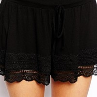 ASOS TALL Culotte Shorts With Lace Hem