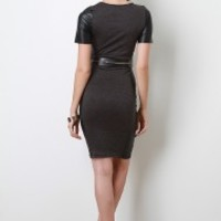 Belted Leatherette Panel Dress
